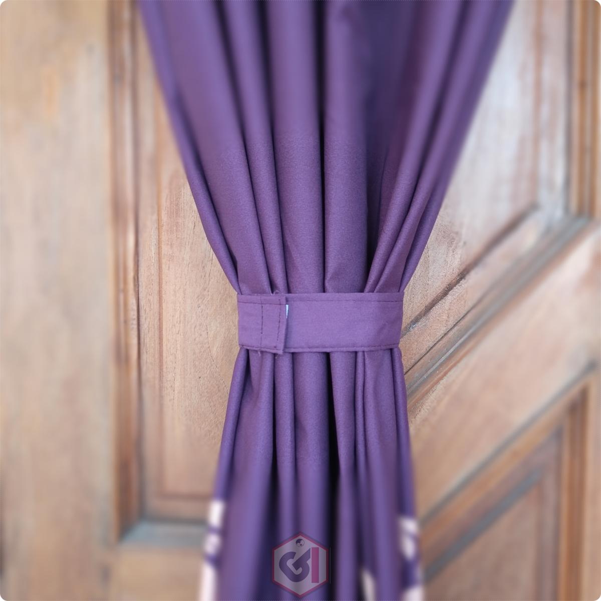 Gorden Pintu Rumah Motif Batik Ungu Model Smokring 12 Ring Ukuran Panjang Murah