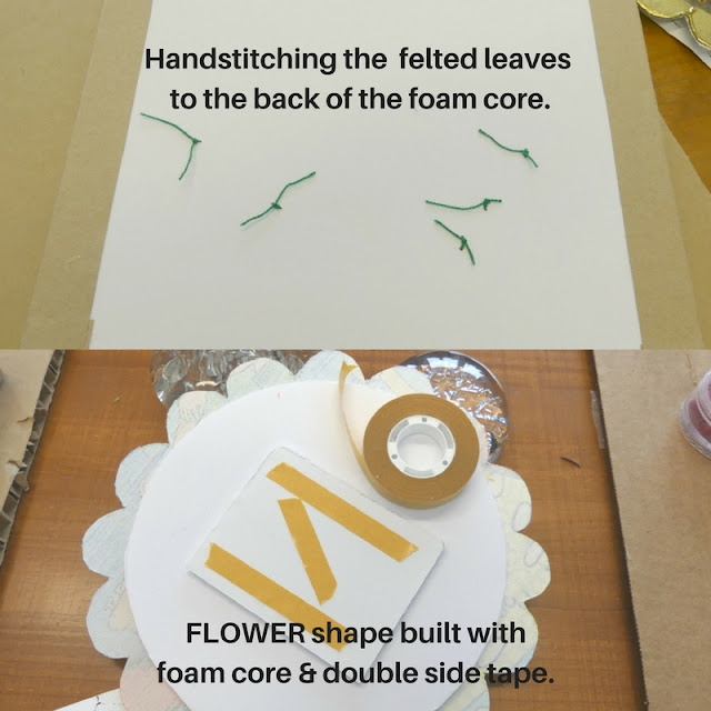 Assembly of leaves and flower to foam core support.