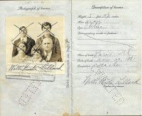 Page from Lillard's passport showing his photograph (and the x'ed out photos of his family)