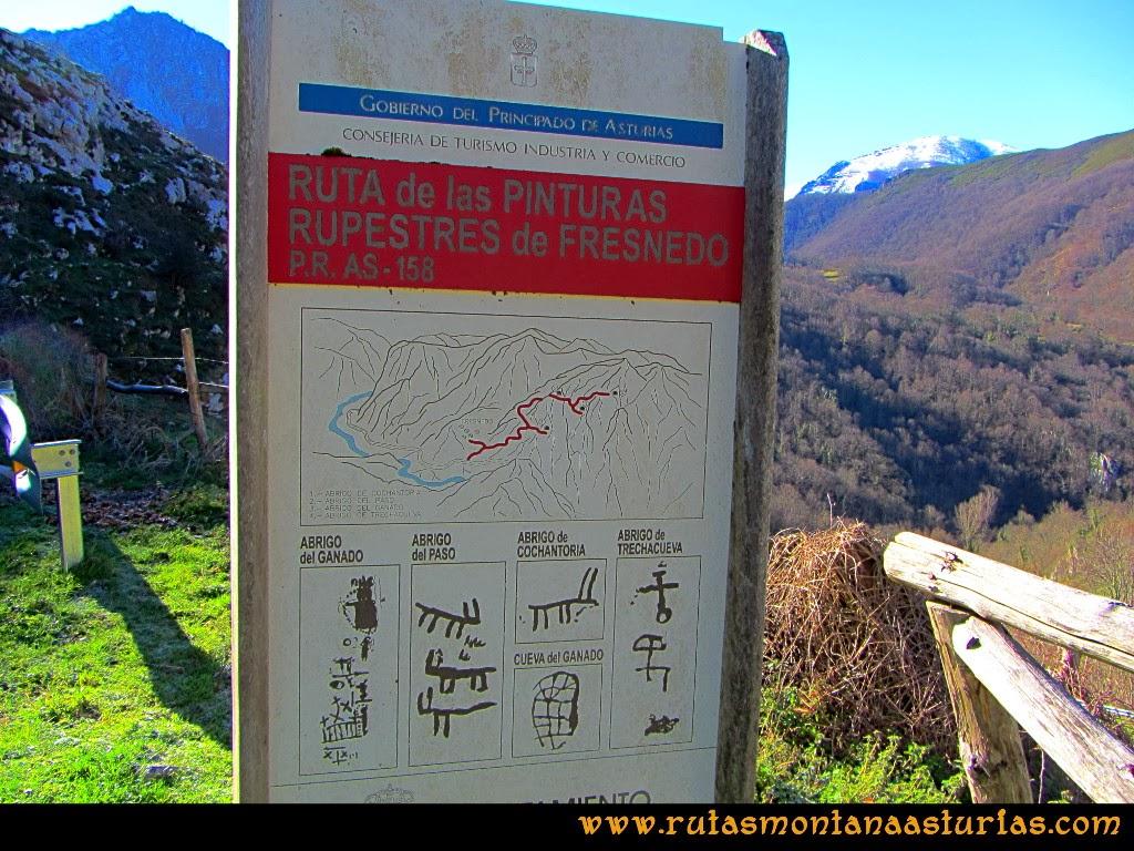 Rutas Montaña Asturias: Cartel descriptivo de la Ruta de las Pinturas Rupestres de Fresnedo