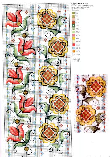 facili disegni di fiori a punto croce con grafici