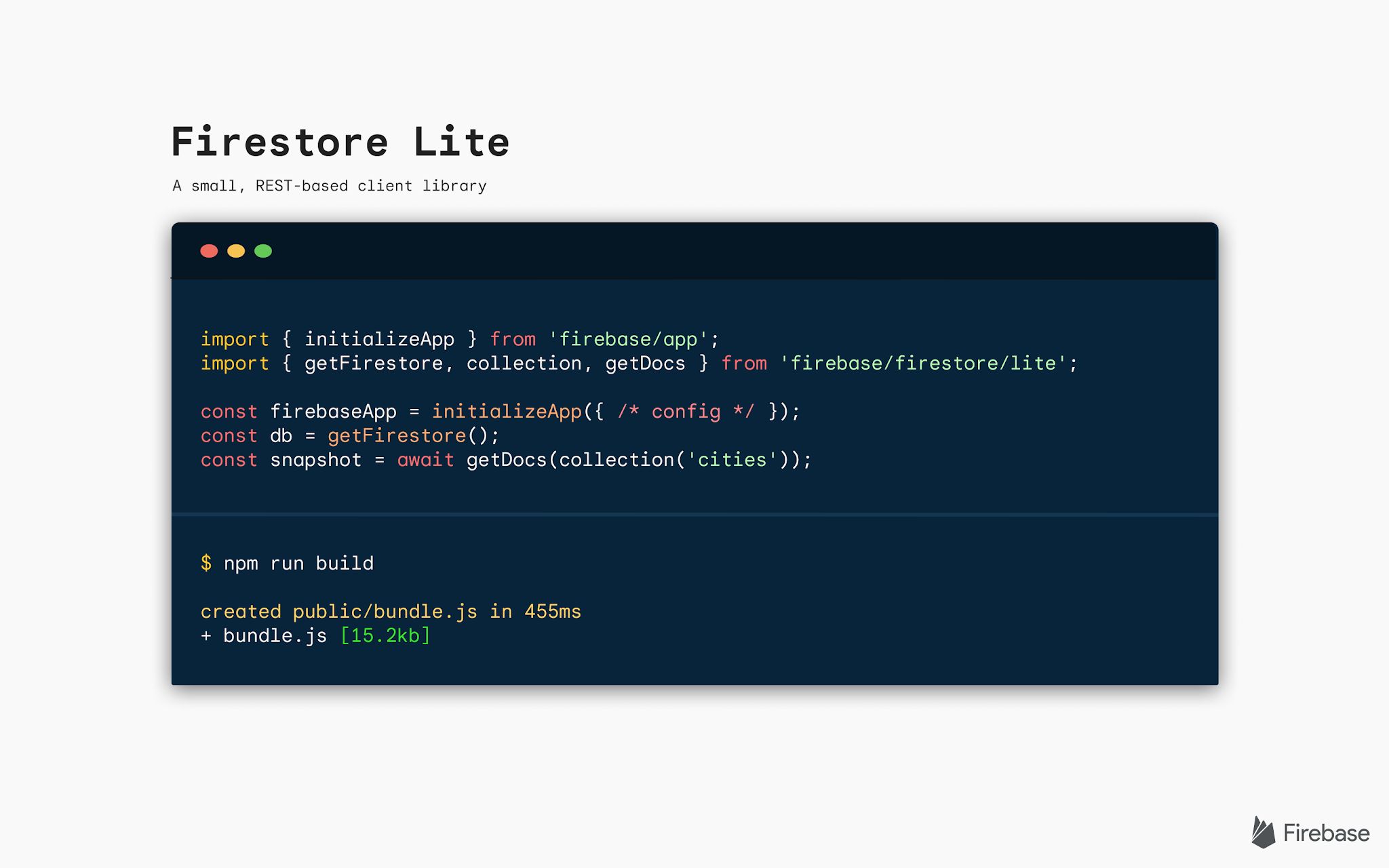 Image of code snippet with text saying Firestore Lite