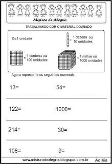Atividade matemática material dourado