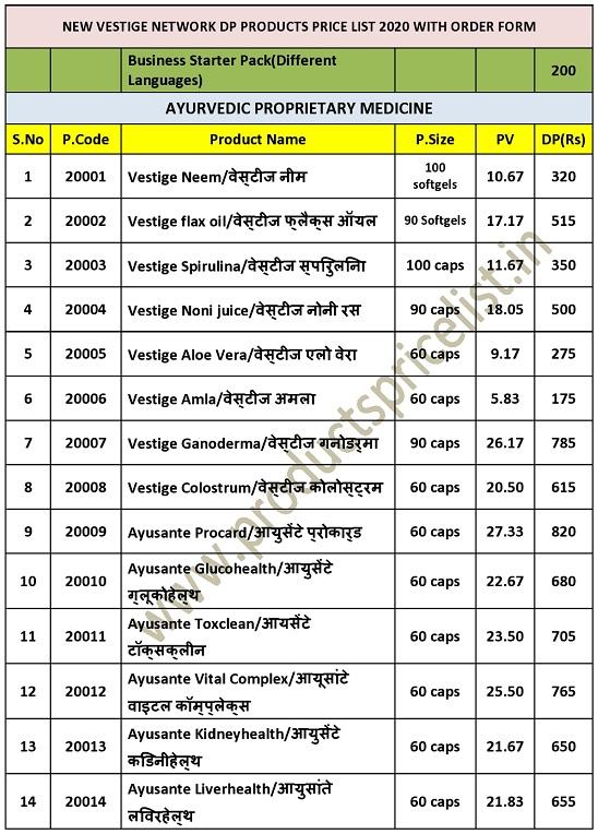 new Vestige Products Price list