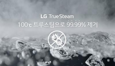 công nghệ làm sạch bằng hơi nước ở nhiệt độ cao TrueSteam, tủ giặt sấy khô LG Styler S5GFO có khả năng diệt khuẩn và khử mùi
