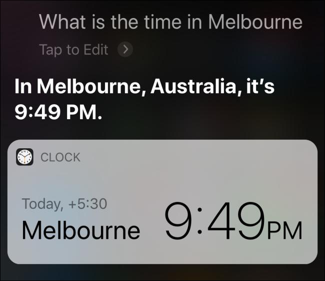 سيري يستجيب مع الوقت في ملبورن ، أوستريليا.