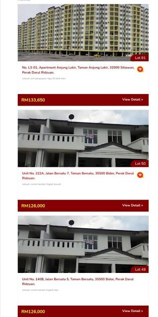 Senarai Rumah yang akan dilelong Oleh LPPSA