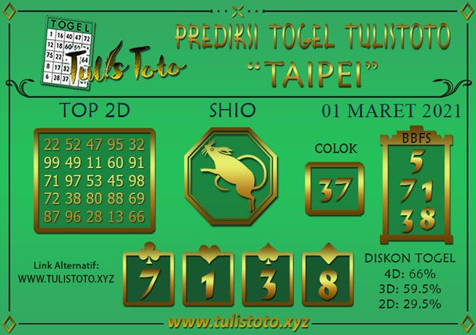 Prediksi Togel TAIPEI TULISTOTO 01 MARET 2021