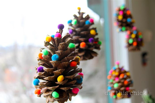 pom poms on pinecones