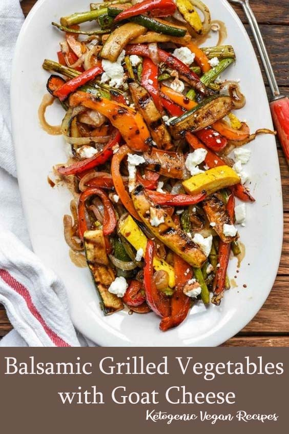 Easy Balsamic Grilled Vegetables with Goat Cheese