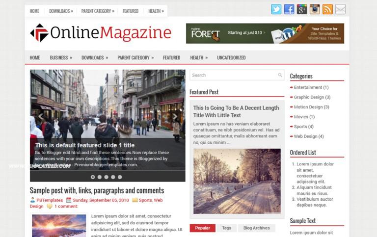 OnlineMagazine Responsive Blogger Template