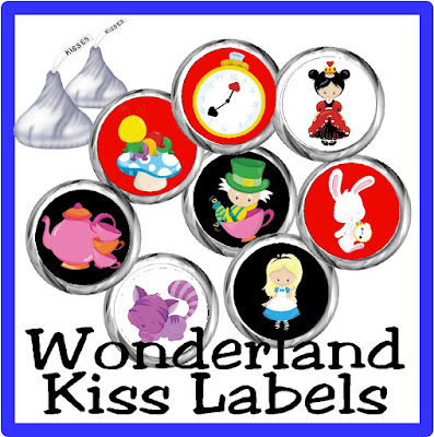 Enjoy some sweet treats at your Alice in Wonderland party with these printable Hershey kiss labels.  Featuring cute characters from the Alice in Wonderland series, these kisses are the perfect Wonderland party treat, dessert table idea, or party favor. #aliceinwonderland #wonderlandparty #chocolate #hersheykisslabels #printableparty #diypartymomblog