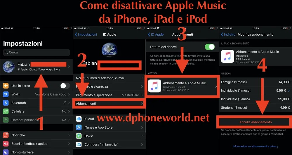 come disattivare apple music da iphone ipad ipod ios
