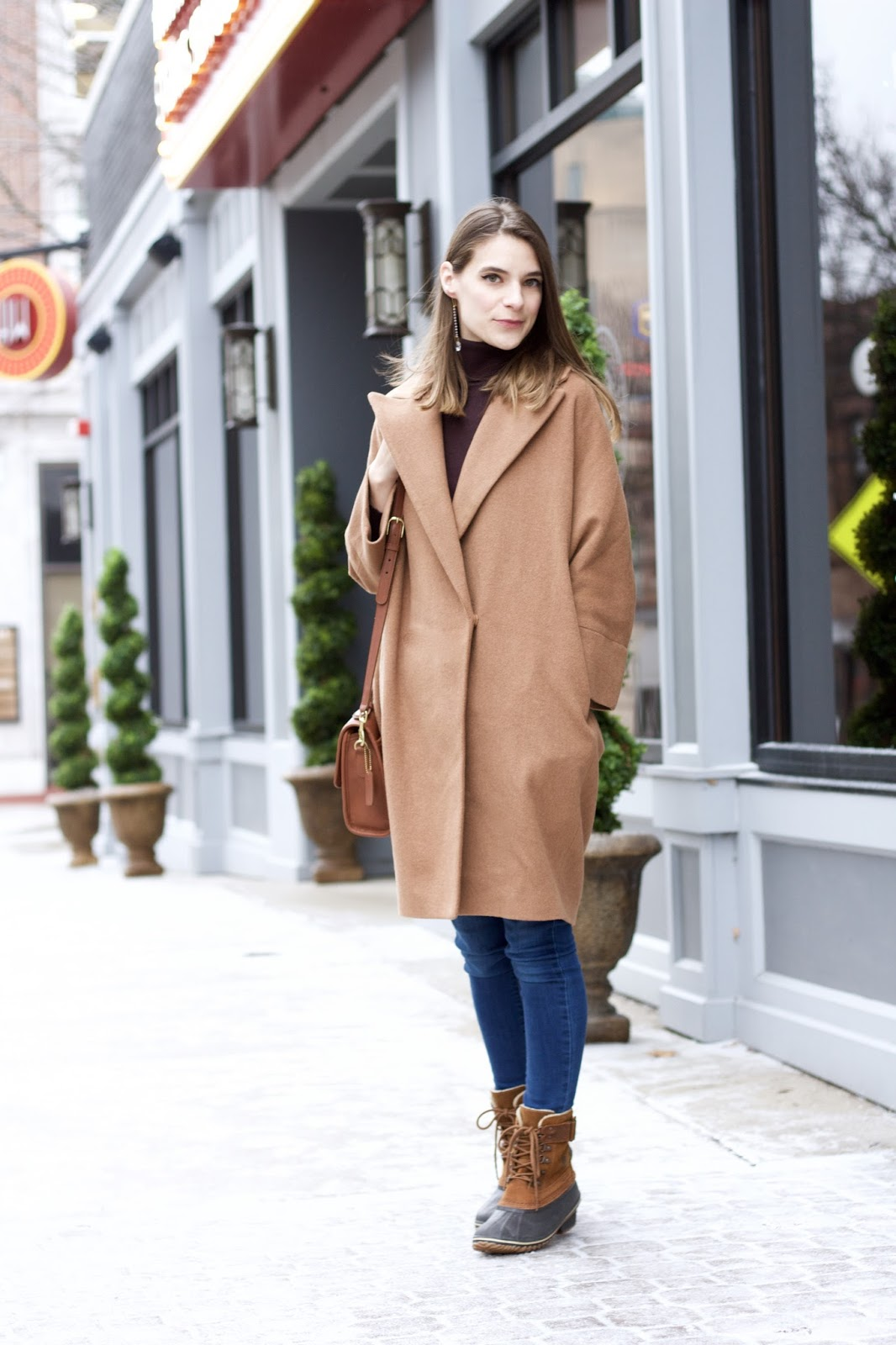 Women's Camel Colored Cocoon Coat