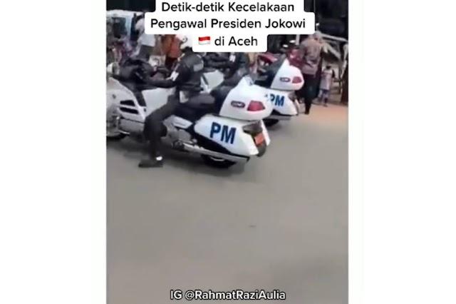 VIDEO Detik-detik kecelakaan pengawal Presiden Jokowi di Aceh