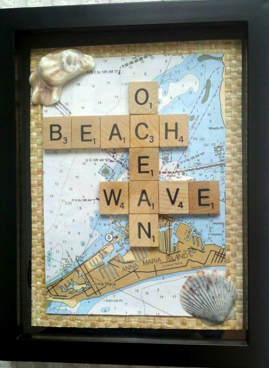 Scrabble Tile Art Idea with Map