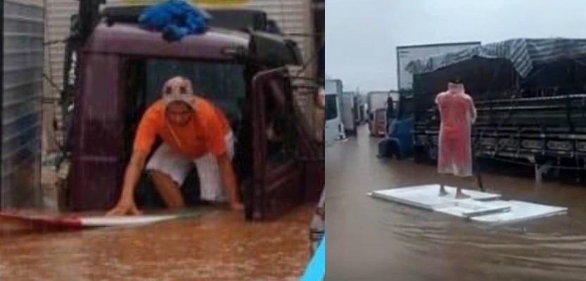 Vídeo: Caminhoneiro utiliza prancha de surf durante alagamento no Ceagesp