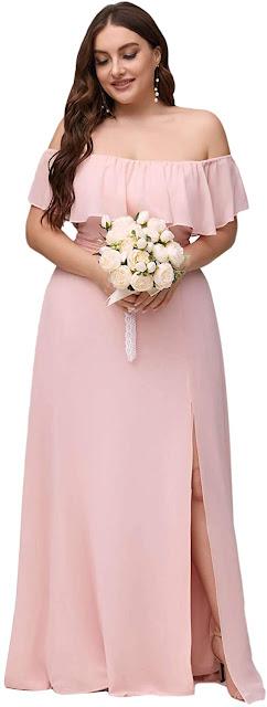 Pink Plus Size Bridesmaid Dresses