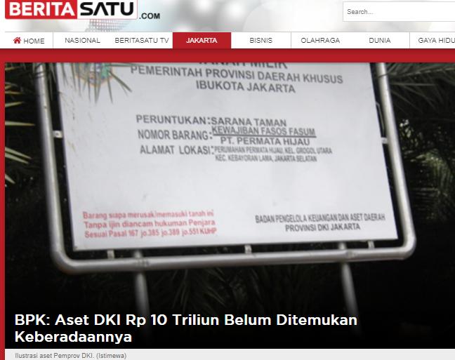 BPK: Aset DKI Rp 10 Triliun Belum Ditemukan Keberadaannya