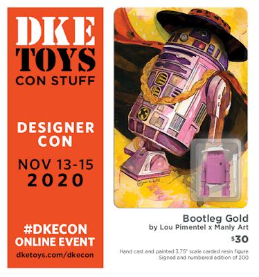 Designer Con 2020 Exclusive Bootleg Gold Pimp2-D2 Resin Figure by Lou Pimentel x Manly Art x DKE Toys