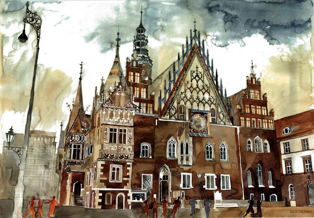Maja Wronska architectural watercolor painting