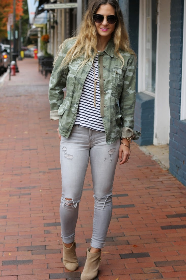 Camo Print Jacket & Striped Top with Gray Jeans