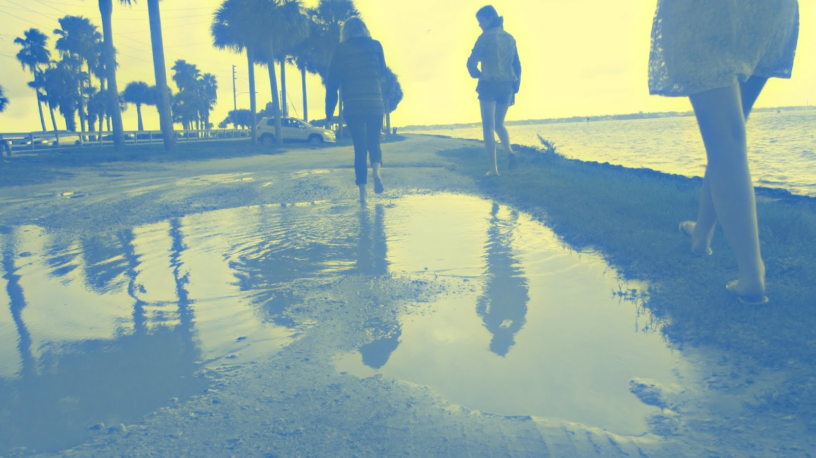 A Blue Photo Filter to Highlight the Beauty of Tide Pools at the Beach in Dunedin, Florida After a Rainstorm