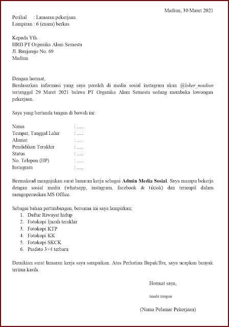 Contoh Application Letter Untuk Admin Media Sosial (Fresh Graduate) Berdasarkan Informasi Dari Media Sosial