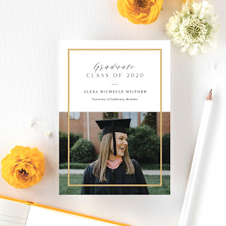graduation invitations with woman in cap and gown