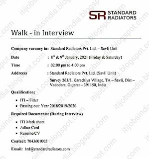 ITI Fitter Freshers Job Vacancy Walk In Interview For Standard Radiators Pvt. Ltd. Company