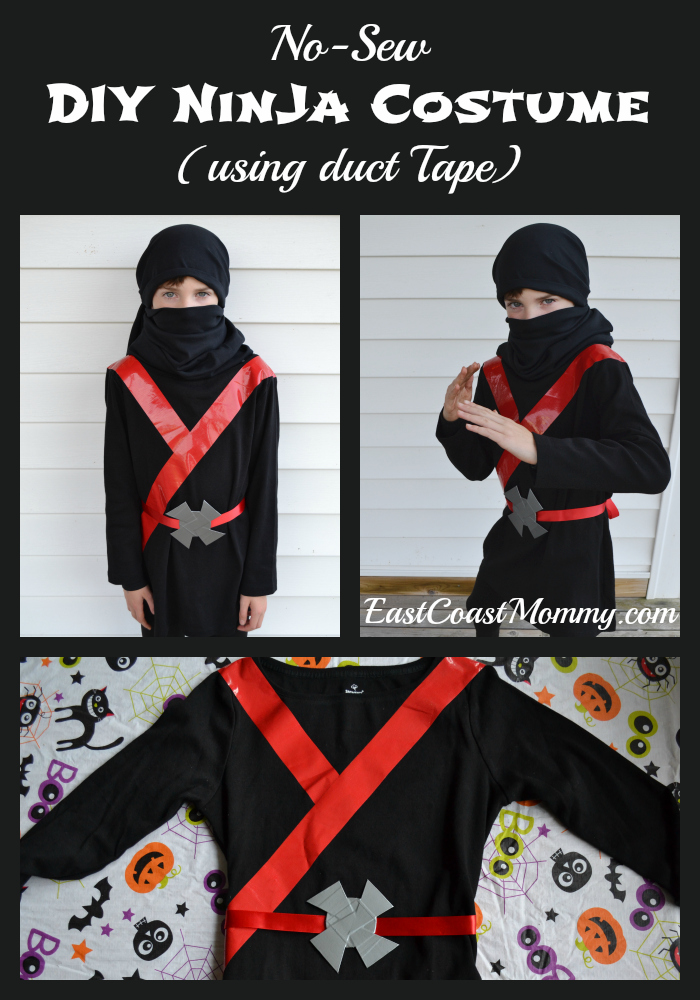 East coast mommy easy black ninja costume no sewing required in order to give him the look he desired i used duct tape to create a simple no sew black ninja costume solutioingenieria Image collections