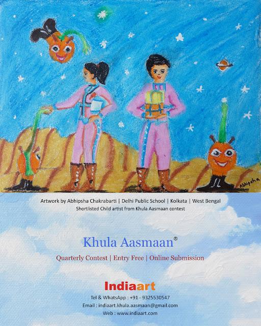 Khula Aasmaan shortlist - Abipsha Chakrabarti of Delhi Public School, Kolkata (www.indiaart.com)