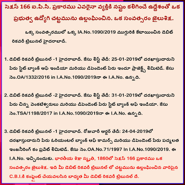 Debit Recovery Tribunal-1 & 2 Hyderabad I.A.No.1090-2019