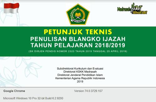 Download Juknis Penulisan Ijazah RA MI MTs MA Terbaru 2019 Kemenag