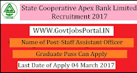 State Cooperative Apex Bank Limited Recruitment 2017–Staff Assistant
