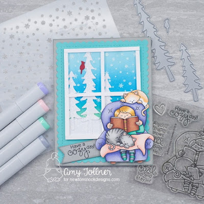 Inky Paws Challenge Cozy Winter Theme - A Cozy Day In stamp set, Frames and Flags die set, Petite Snow stencil, Forest Scene Builder, Land Borders die set by Newton's Nook Designs #newtonsnook #handmade