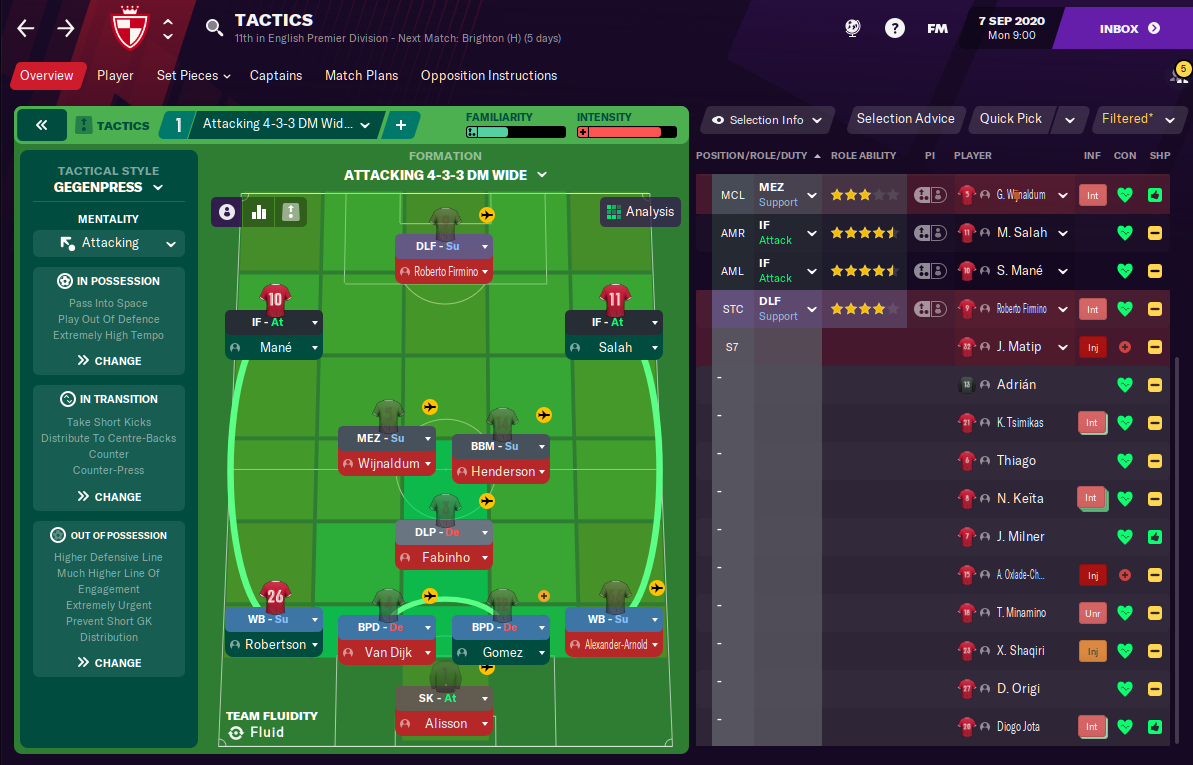 Football Manager 2021 Liverpool Tactic