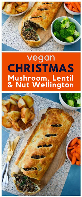 Mushroom, Lentil & Nut Wellington.The most luxurious puff pastry pie to serve up as a vegetarian and vegan main course with roast potatoes, vegetables and onion gravy for Sunday dinner, Thanksgiving or Christmas dinner. #mushroomwellington #veganthanksgiving #veganChristmas #veganpie