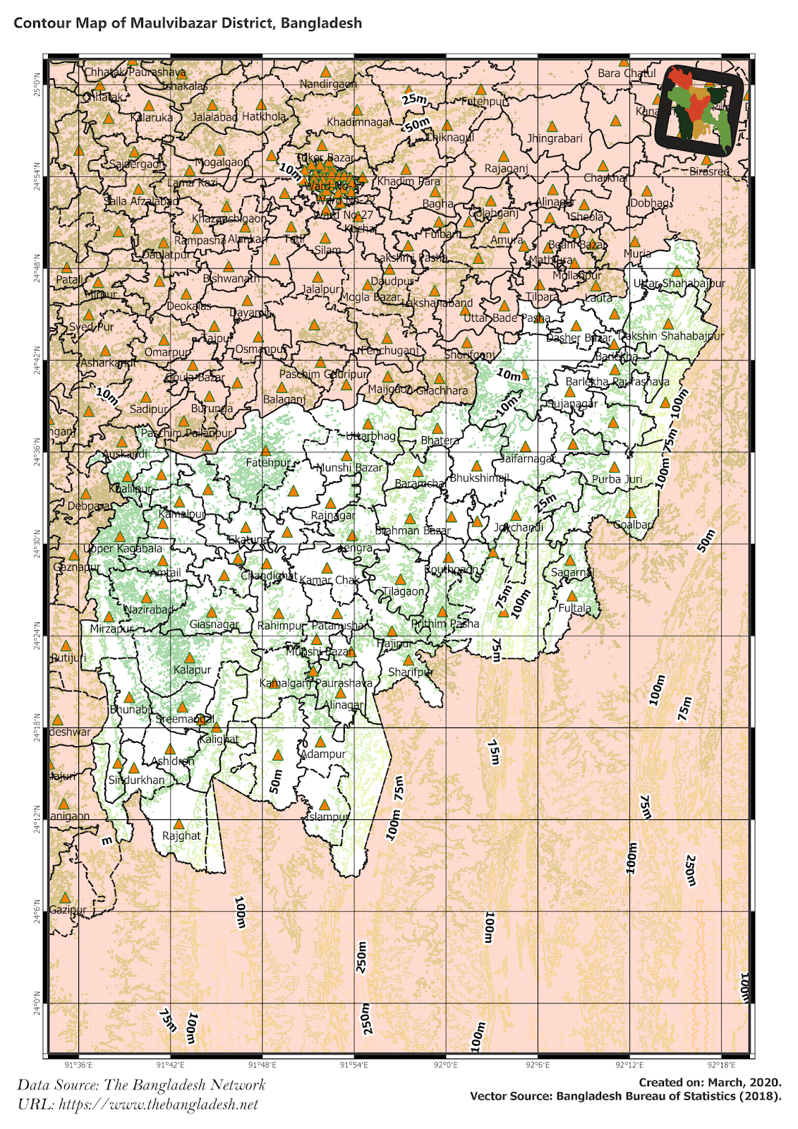 Elevation Map of Moulvibazar District of Bangladesh