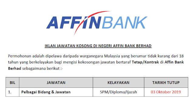 jawatan kosong affin bank