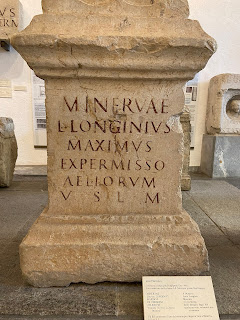 Example of abbreviation VSLM on Roman tombstone 100 - 200 AD). Martinengo.
