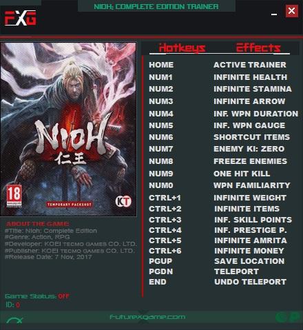 Nioh Complete Edition PC Trainer +17 v1 21 ( FutureX ) - Pc Save