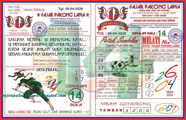 Prediksi HK Kamis 09 April 2020 - Fajar Pakong Lama