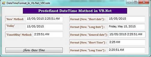 predefined datetime format in VB.Net code