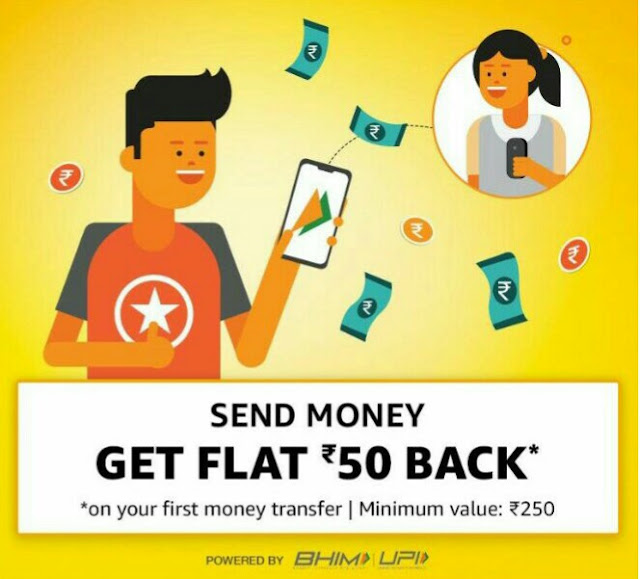 Amazon pay offer-Get flat Rs50 back on Rs250 fist UPI Transaction.