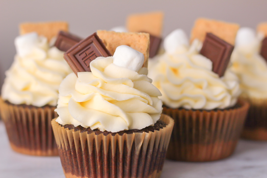 S'mores Cupcakes with Smoked Chocolate Ganache