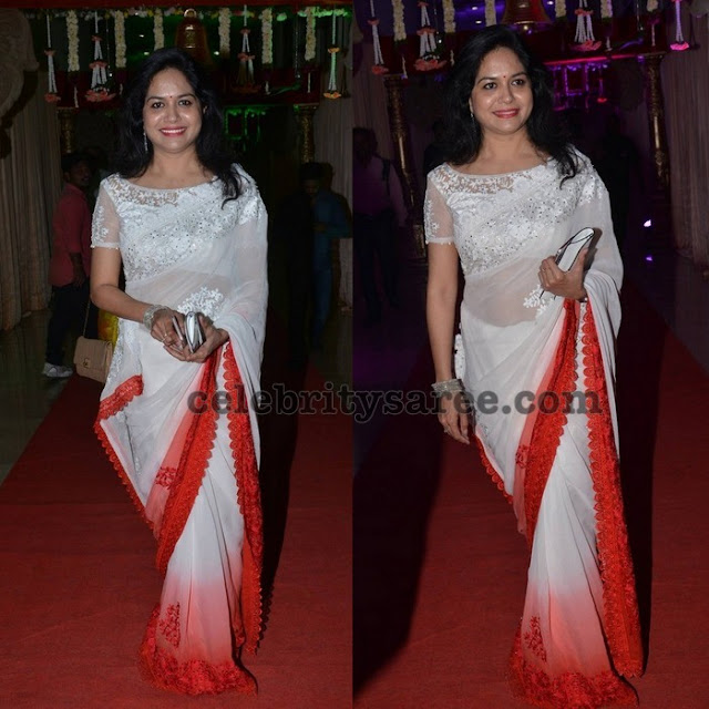 Sunitha White Lace Saree