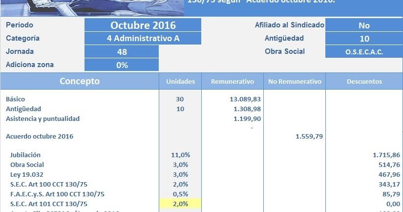 Ignacio online empleados de comercio liquidaci n octubre for Liquidacion de nomina excel 2016