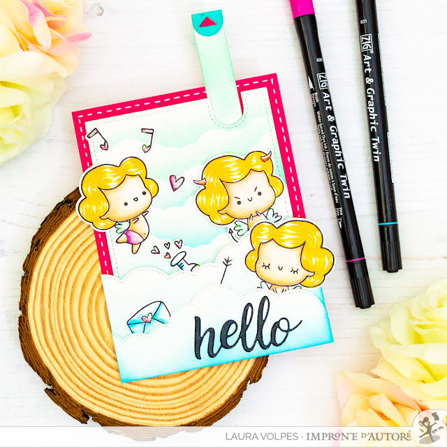 Pull Tab Valentine's Day Card with DIY Stencil - Impronte d'Autore Cupido and Lawn Fawn Let's Toast Pull Tab Add On