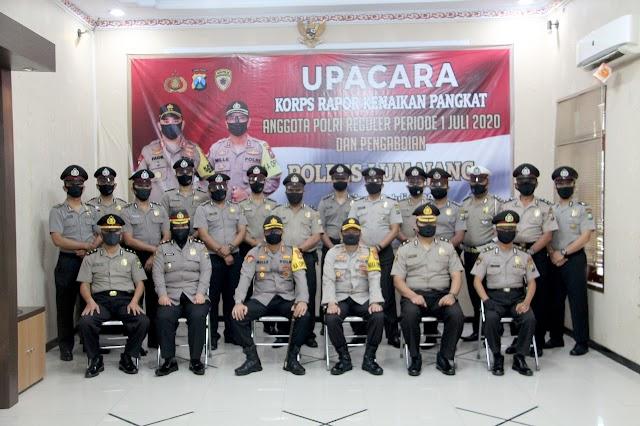 Polres Lumajang Gelar Upacara Korps Raport Kenaikan Pangkat